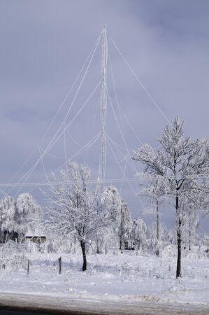 A frosty day, radio mast in hoarfrost