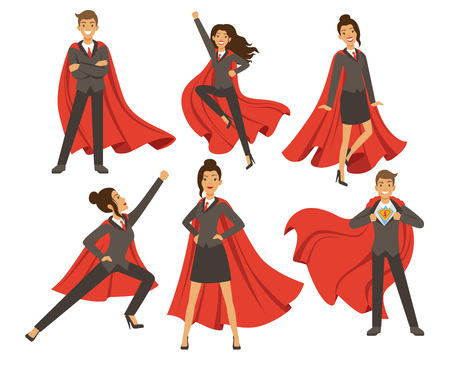 Illustration pour Businesswoman in action poses. Female superhero flying. Vector illustrations in cartoon style - image libre de droit