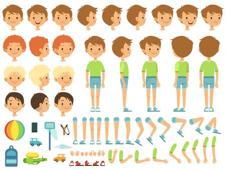 Ilustración de Funny cartoon boy creation mascot kit with children toys and different body parts - Imagen libre de derechos
