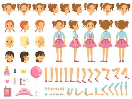 Ilustración de Mascot creation kit of little girl and some children toys. Vector constructor with fun emotions and different body parts - Imagen libre de derechos