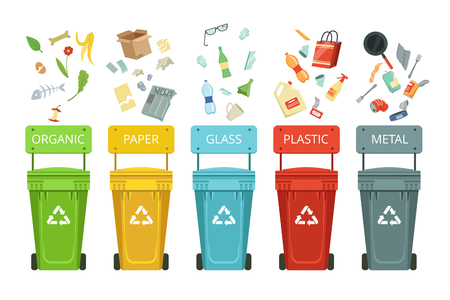 Illustration for Plastic containers for garbage of different types. Vector illustrations in cartoon style - Royalty Free Image