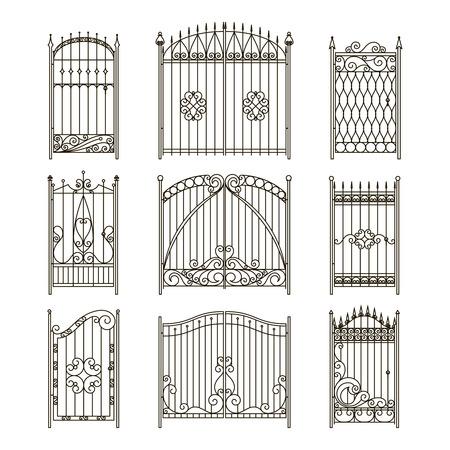Illustration pour Iron gates with decorative elements. Vector monochrome pictures set. Fence and gate wrought silhouette, elegance collection fence border illustration - image libre de droit