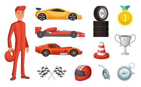 Illustration pour Sport cars and different racing icons set. Engine, helmet, motor and other formula symbols - image libre de droit