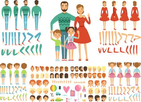 Ilustración de Big happy family. Mother, father and children. Mascot creation kit. Funny couple with kids. - Imagen libre de derechos