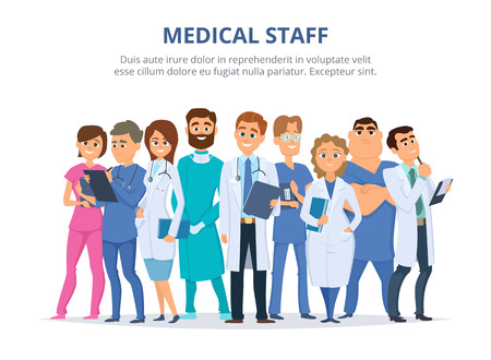 Ilustración de Group of male and female doctors. - Imagen libre de derechos