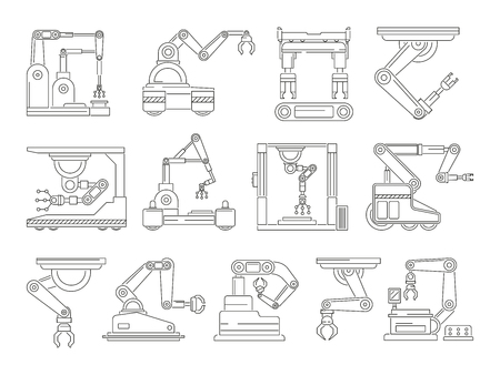 Illustration pour Robotic machines for production. Mono line vector pictures set - image libre de droit