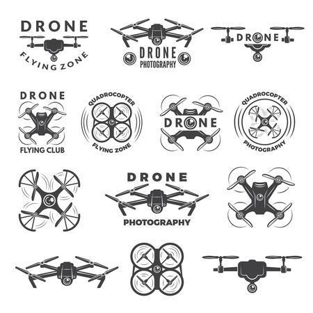 Ilustración de Set labels with different illustrations of drones - Imagen libre de derechos