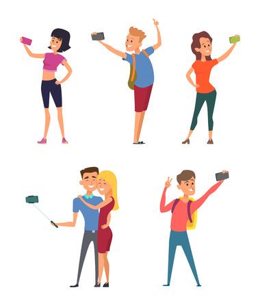 Illustration pour Different funny characters make selfie on their smartphones - image libre de droit