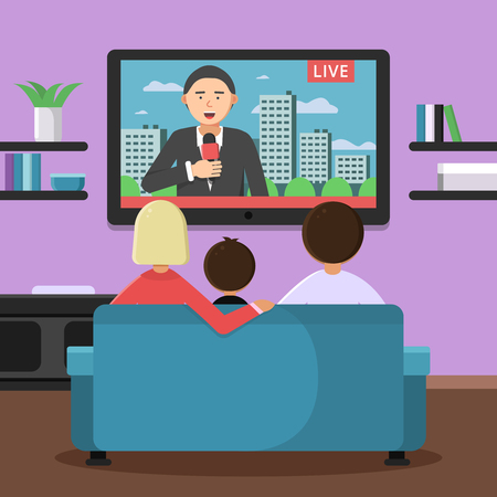 Illustration pour Family couple sitting on sofa and watching news at tv. Vector family sitting and watch news illustration - image libre de droit