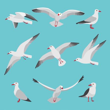 Ilustración de Set illustrations of atlantic seagulls in cartoon style. - Imagen libre de derechos