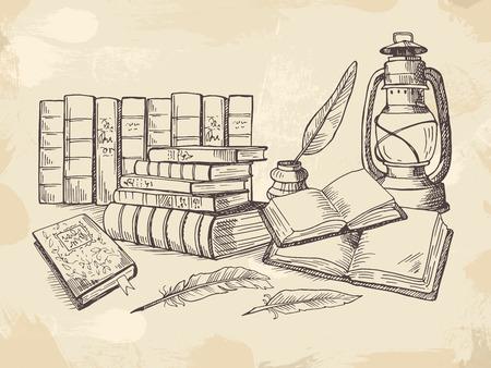 Illustration pour Composition from old handwriting books - image libre de droit