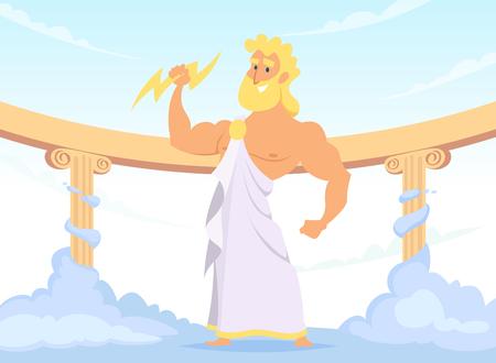 Illustration pour Zeus Greek ancient God of thunder and lightning - image libre de droit