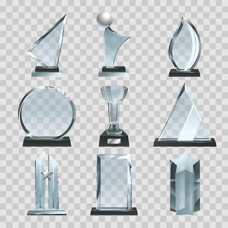 Illustration pour Glossy transparent trophies, awards and winner cups. Vector illustrations - image libre de droit