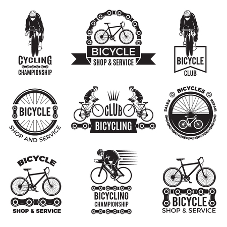 Ilustración de Labels set for bicycle club. Velo sport logos design - Imagen libre de derechos