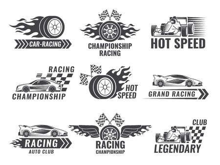 Illustration for Trophy, engine, rally and others symbols for race sport labels. Vector illustration. - Royalty Free Image