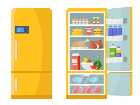 Vector illustrations of empty and closed refrigerator with different healthy food