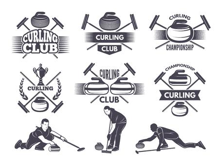 Ilustración de Labels for curling sport team - Imagen libre de derechos