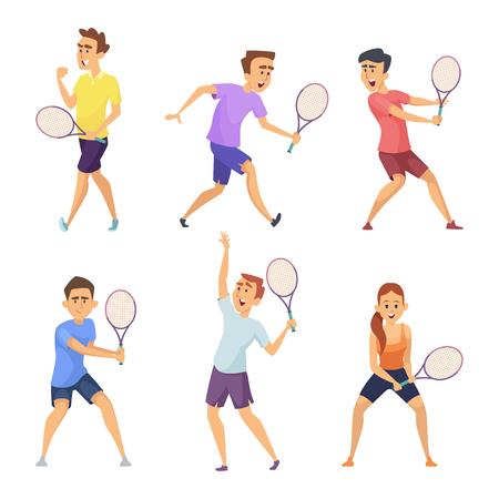 Ilustración de Various tennis players. Vector characters in action poses - Imagen libre de derechos