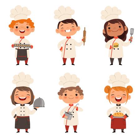 Illustration pour Characters set of children cooks. Cartoon mascots in various dynamic poses - image libre de droit