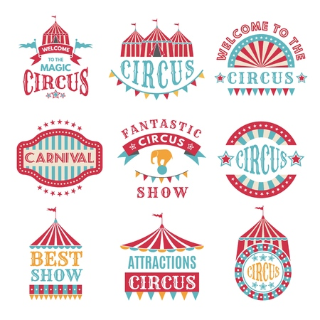 Illustration for Retro badges or logotypes of carnival and circus - Royalty Free Image