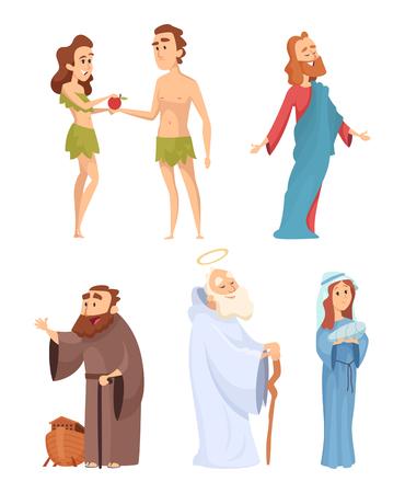 Ilustración de Historical characters of bible. Vector mascots in various poses - Imagen libre de derechos