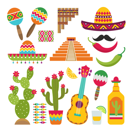 Illustration for Mexican elements. Set of traditional Mexican symbols for various design projects - Royalty Free Image