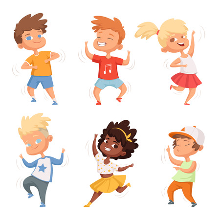 Illustration pour Dancing childrens male and female. Set vector characters. Childhood children, young kids boy and girl dance illustration - image libre de droit