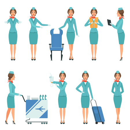 Ilustración de Stewardess characters. Various mascots in action poses. Airport and flight workers. Flight airline hostess, attendant in uniform service, vector illustration - Imagen libre de derechos