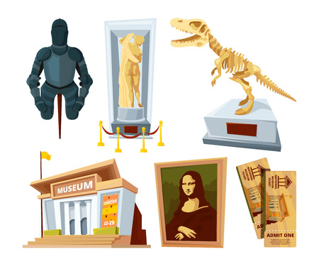 Illustration pour Set cartoon pictures of museum with exhibit pod and tools of various historical periods - image libre de droit