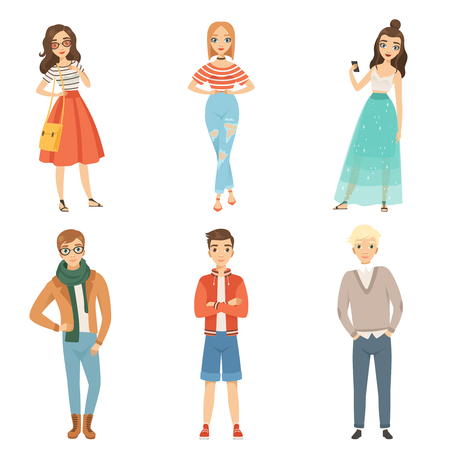 Vektor für Fashionable guys and girls. Cartoon male and female characters in various fashion poses. Vector guy and female fashion illustration - Lizenzfreies Bild