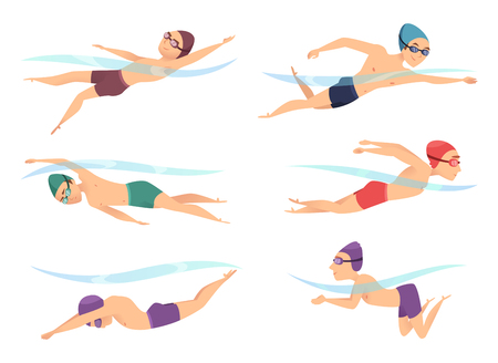 Photo for Swimmers at various poses. Cartoon sport characters in poll action poses crawl, breaststroke and butterfly, vector illustration - Royalty Free Image
