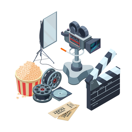 Production of video. Vector isometric concept of video and photo production. Illustration video camera production, media camcorder equipment