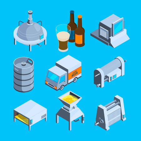 Beer production isometric  Vector tools of brewery  Beer