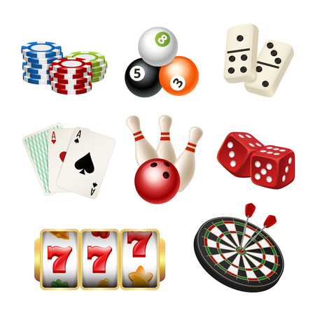 Illustration pour Casino game icons. Playing cards bowling domino darts dice vector realistic illustrations of play tools. Play game casino, dice and bowling - image libre de droit