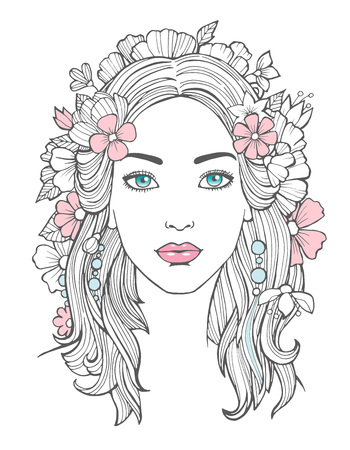Illustration pour Beautiful woman portrait. Mysterious drawing beauty young female with flowers in hair vector art. Face woman portrait, girl young drawing illustration - image libre de droit
