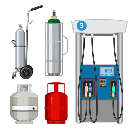 Illustration pour Gas station. Pumping petrol types metal tank cylinders vector illustrations of petrol pumps. Gas pump, petrol station, industry petroleum and gas fuel balloon - image libre de droit