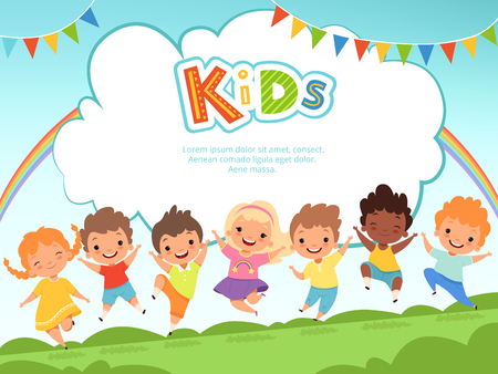 Ilustración de Children jumping background. Happy kids playing male and female on playground vector template with place for your text. Happy girl and boy, play fun jumping, friendship and childhood illustration - Imagen libre de derechos