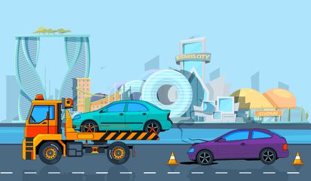 Illustration pour Transport accident in Urban landscape. Vector background in cartoon style. Illustration of road evacuate, broken transportation car - image libre de droit