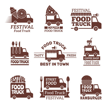 Illustration pour Food truck logo. Street festival van fast catering outdoor kitchen vector labels and badges monochrome style. Illustration of festival delivery street, restaurant van badge - image libre de droit