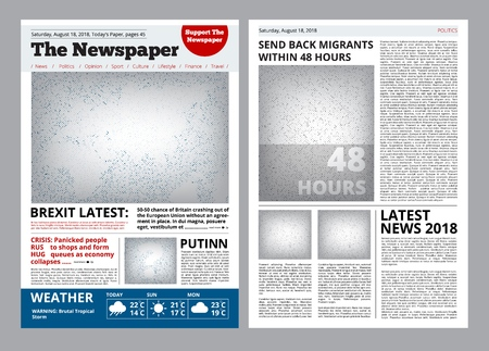 Newspaper design. Headline journal template with place for your text and images layout vector brochure. Newspaper page with headline illustration