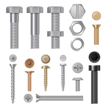 Illustration pour Steel screws bolts. Vise rivets metal construction hardware tools vector realistic pictures. Steel bolt and rivet, screw hardware illustration - image libre de droit