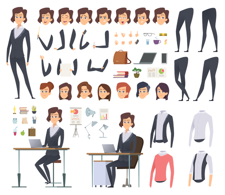 Illustration pour Female business animation. Director office manager woman body parts clothes and business wardrobe items vector character creation kit. Illustration of businesswoman young, female woman animation - image libre de droit