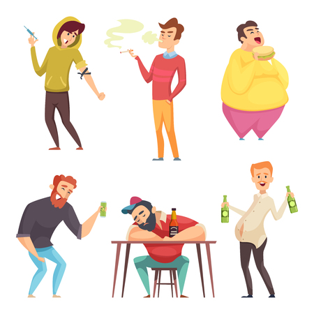 Illustration pour Addicted lifestyle. Alcoholism drugs and addiction from unhealthy habits vector cartoon characters in action poses. Alcohol addiction drug and alcoholic drink illustration - image libre de droit