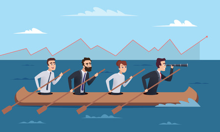 Illustration pour Team destination. Business successful managers group going to leader director vector concept illustrations. Illustration of business leader with team in boat - image libre de droit