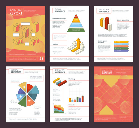 Illustration pour Annual report design. Business buklet pages layout with abstract shapes vector advertisement project. Illustration of presentation project brochure - image libre de droit