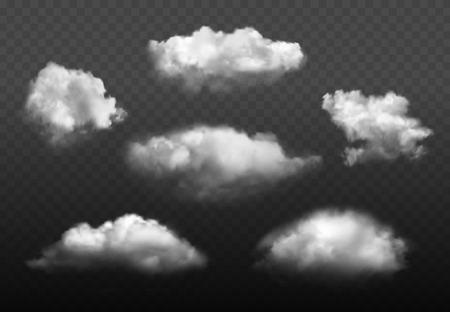 Illustration pour Clouds realistic. Blue cloudy sky weather elements vector picture set. Cloudy air environment, cloudscape atmosphere smoky illustration - image libre de droit