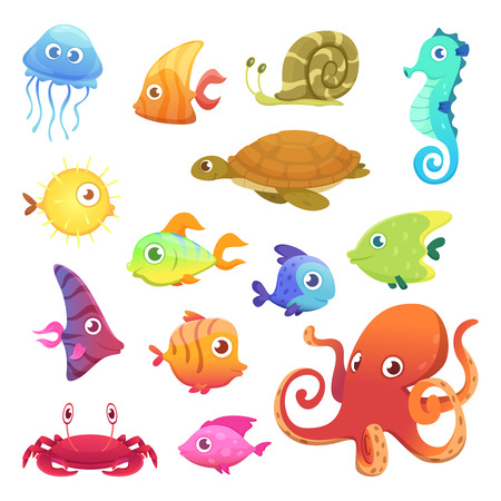 Illustration pour Underwater animals. Ocean sea animals fish octopus turtle seahorse vector characters. Sea marine fish and octopus, wild fauna illustration - image libre de droit