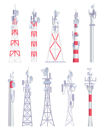 Illustration pour Communication tower. Cellular broadcasting tv wireless radio antena satellite construction vector pictures in cartoon style. Illustration of tower for radio communication, satellite antena - image libre de droit