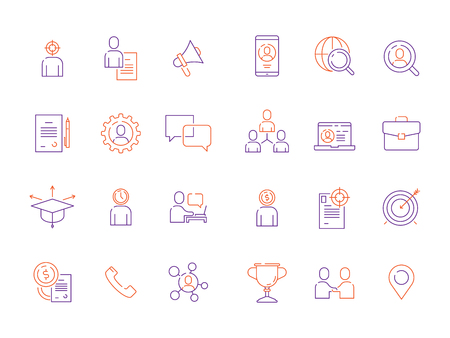 Head hunting symbols. Staff employment business super workers top managers workforce development vector icon. Illustration of headhunting and hiring job
