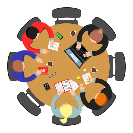 Ilustración de Office meeting top view. Conference group teamwork discussion at roundtable business vector concept. Illustration of office discussion group - Imagen libre de derechos